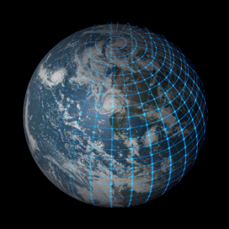 Planet in a wireframe model